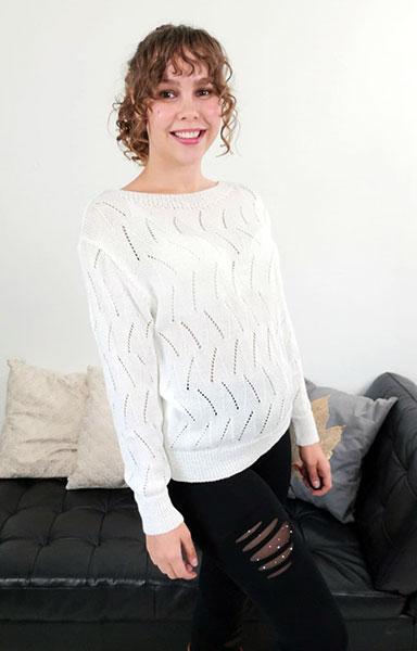 jojo strik bluse råhvid chicwear.dk
