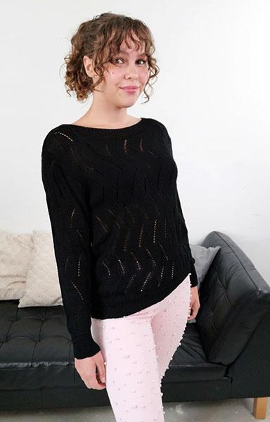 jojo strik bluse sort chicwear.dk