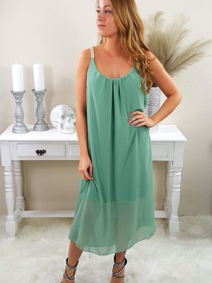 athene kjole støvet grøn chicwear.dk.jpg